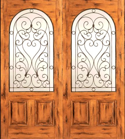 Western 2 Panel Wood Double Door With Round Lite