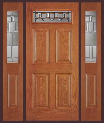 Entry prehung 6 panel top lite fiberglass door with 2 sidelights for Fiberglass exterior doors for sale