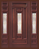 Entry Prehung Rectangular Designs Single Wood Door with 2 sidelights