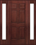 Entry Prehung 6 Panel Textured Fiberglass Door with 2 Sidelights
