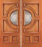 Entry Half Circle Glass 4 Panel Wood Double Door