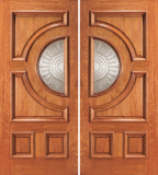 Entry Half Circle Glass 4 Panel Wood Double Door 2