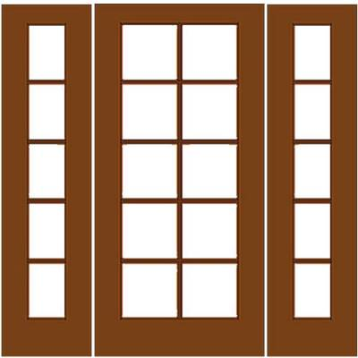Wood french door 10 5 with 2 sidelights for French doors with sidelights
