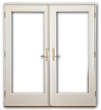 Smooth white fiberglass french double door for Double french front doors