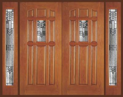 Entry Prehung 9 Panel Decorated Glass Fiberglass Double