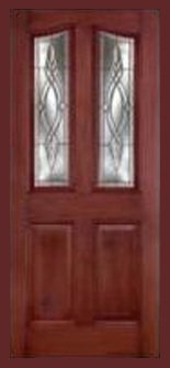 Entry prehung eyebrow mahogany single fiberglass door for Mahogany door skin