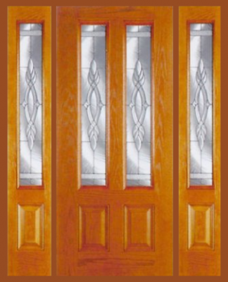Exterior Doors  Sidelights on Entry Prehung Vertical Decorated Glass Fiberglass Door With 2