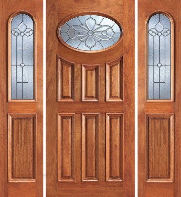 Entry Prehung 6 Panel Oval Glass Wood Door With 2 Sidelites