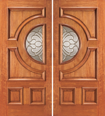 Entry half circle glass 4 panel wood double door for Half glass exterior door