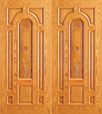 Entry Wood Double Door With Plain Panel