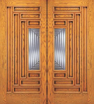 Entry 9 panel wood double door with lite for 9 lite wood exterior door