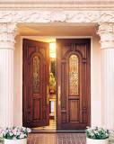 Double Mahogany Wood Doors with Brass Caming