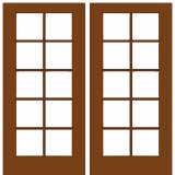 French Wood Doors - French Door 10 / 5 - Mahogany Wood Double French Door with 10/5  Glass Prehung