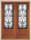 prehung Double Door with Priscilla wrought Iron glass style