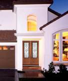 Double Door with Camelia wrought Iron glass style
