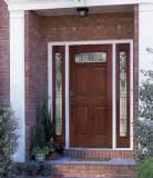 6 Panel Top Lite Fiberglass Door with 2 sidelights installed