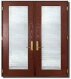 Prehung Textured Fiberglass French Double Door with miniblinds