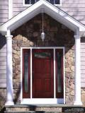 Spring st6 Panel Top Lite Fiberglass Door with 2 sidelights slabsyle glass on 6 Panel Top Lite Fiberglass Door with 2 sidelights installed