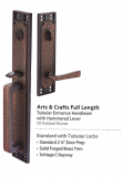Hardware - Entry Handlesets - Emtek - Arts & Crafts Full Length Brass Entrance Handleset