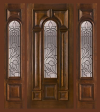 Wood Entry Doors - Entry Prehung Arched Glaze Mahogany Wood Door - Entry Prehung Arched Glaze Single Wood Door with 2 Sidelights