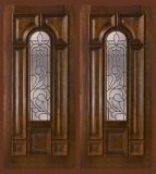 Wood Entry Doors - Entry Prehung Arched Glaze Mahogany Wood Door - Entry Prehung Arched Glaze Double Door