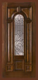 Wood Entry Doors - Entry Prehung Arched Glaze Mahogany Wood Door - Entry Prehung Arched Glaze Single Door