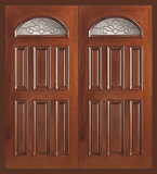 Wood Entry Doors - Entry Prehung Eye Brow Wood Door - Entry Prehung Eye Brow Double Wood Door