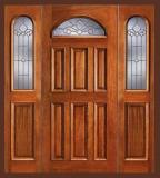 Wood Entry Doors - Entry Prehung Eye Brow Wood Door - Entry Prehung Eye Brow Single Wood Door with 2 Sidelights