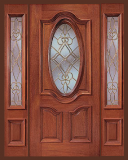 Wood Entry Doors - Entry Prehung Oval Glass Wood Door - Entry Prehung Oval Glass Single Wood Door with 2 Sidelights