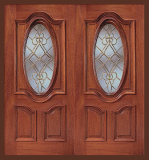Wood Entry Doors - Entry Prehung Oval Glass Wood Door - Entry Prehung Oval Glass Wood Double Door