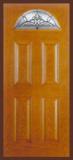 Textured Oak Grain - Entry Prehung 4 Panel Top Lite Fiberglass Door - Entry Prehung 4 Panel Blank Top Lite Fiberglass Door
