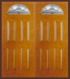 Textured Oak Grain - Entry Prehung 4 Panel Top Lite Fiberglass Door - Entry Prehung 4 Panel Blank Top Lite Fiberglass Double Door
