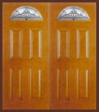 Textured Oak Grain - Entry Prehung 4 Panel Top Lite Fiberglass Door - Entry Prehung 4 Panel Blank Top Lite Fiberglass Double Door