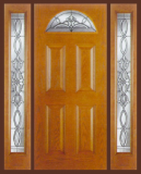 Entry Prehung 4 Panel Blank Top Lite Fiberglass Door & 2 Sidelights - Image 1