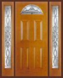 Textured Oak Grain - Entry Prehung 4 Panel Top Lite Fiberglass Door - Entry Prehung 4 Panel Blank Top Lite Fiberglass Door & 2 Sidelights