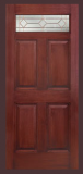 Textured Mahogany Grain - Entry Prehung 6 Panel Top Lite Fiberglass Door - Entry Prehung 6 panel Top Lite Fiberglass Door