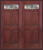 Textured Mahogany Grain - Entry Prehung 6 Panel Top Lite Fiberglass Door - Entry Prehung 6 Panel Top Lite Fiberglass Double Door