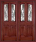 Other Doors - Entry Prehung 6/8 Eyebrow Mahogany Fiberglass Door - Entry Prehung 6/8 Eyebrow Mahogany Fiberglass Double Door