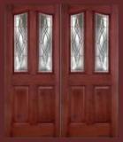 . - Entry Prehung 6/8 Eyebrow Mahogany Fiberglass Door - Entry Prehung 6/8 Eyebrow Mahogany Fiberglass Double Door