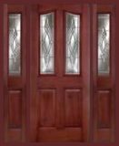 Other Doors - Entry Prehung 6/8 Eyebrow Mahogany Fiberglass Door - Entry Prehung Eyebrow Mahogany Fiberglass Door with 2 Sidelights