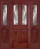 . - Entry Prehung 6/8 Eyebrow Mahogany Fiberglass Door - Entry Prehung Eyebrow Mahogany Fiberglass Door with 2 Sidelights
