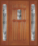 Other Doors - Entry Prehung 9 Panel Decorated Glass Fiberglass Door  - Entry Prehung 9 Panel Decorated Glass Fiberglass Door with 2 Sidelights