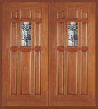 Entry Prehung 9 Panel Decorated Glass Fiberglass Double Door - Image 1