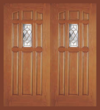 Entry Prehung 9 Panel Decorated Glass Fiberglass Double Door - Image 2