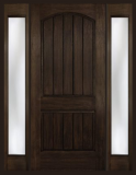 Rustic Fiberglass - Entry Prehung Arch Plank Square Top Rustic Fiberglass Door - Entry Prehung Arch Plank Square Top Rustic Fiberglass Door with 2 Sidelights