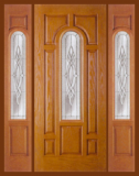 Textured Oak Grain - Entry Prehung Arched Glaze Fiberglass Door - Entry Prehung Arch Glazed Fiberglass Door with 2 Sidelights