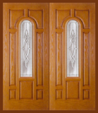 Textured Oak Grain - Entry Prehung Arched Glaze Fiberglass Door - Entry Prehung Arch Glazed Fiberglass Double Door