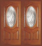 Textured Oak Grain - Entry Prehung Oval Deluxe Fiberglass Door - Entry Prehung Oval Deluxe Fiberglass Double Door