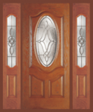 Textured Oak Grain - Entry Prehung Oval Deluxe Fiberglass Door - Entry Prehung Oval Deluxe Door with 2 Sidelights