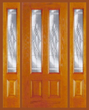 Other Doors - Entry Prehung Vertical Decorated Glass Fiberglass Door - Entry Prehung Vertical Decorated Glass Fiberglass Door with 2 Sidelights